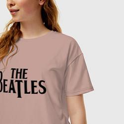 Футболка оверсайз женская The Beatles цвета пыльно-розовый — фото 2