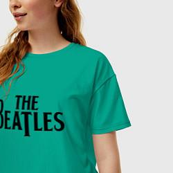 Футболка оверсайз женская The Beatles цвета зеленый — фото 2