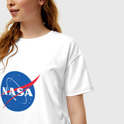 Футболка оверсайз женская NASA: Logo цвета белый — фото 2