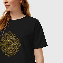 Футболка оверсайз женская Золотой цветок цвета черный — фото 2