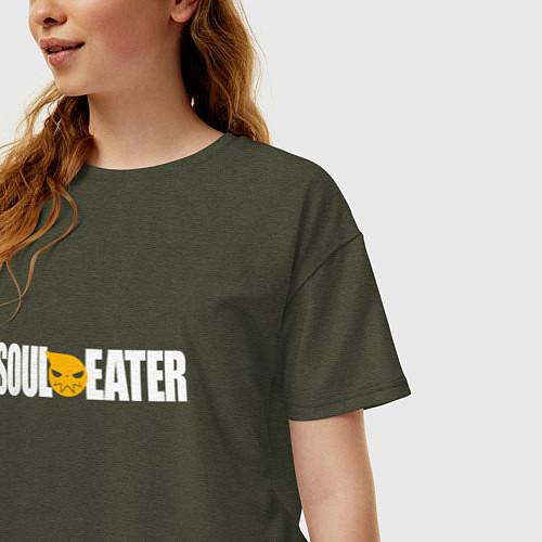 Женская футболка оверсайз Soul Eater: White / Меланж-хаки – фото 3