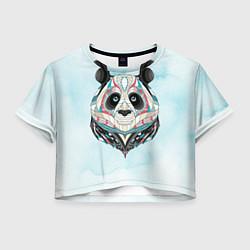 Футболка 3D укороченная женская Расписная голова панды цвета 3D — фото 1