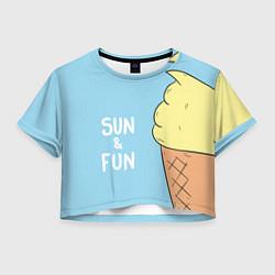 Футболка 3D укороченная женская Sun & Fun цвета 3D — фото 1