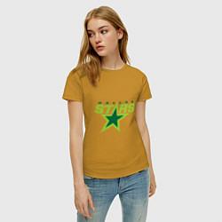 Футболка хлопковая женская Dallas Stars цвета горчичный — фото 2