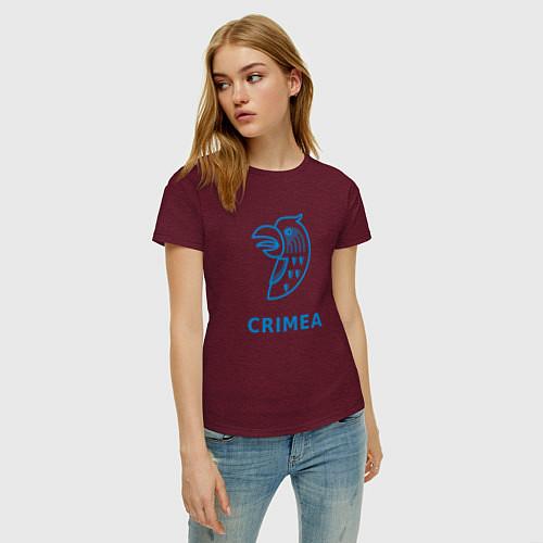 Женская футболка Crimea / Меланж-бордовый – фото 3