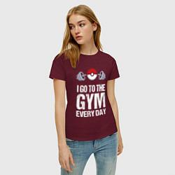 Футболка хлопковая женская Gym Everyday цвета меланж-бордовый — фото 2