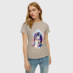 Футболка хлопковая женская John Lennon: Art цвета миндальный — фото 2