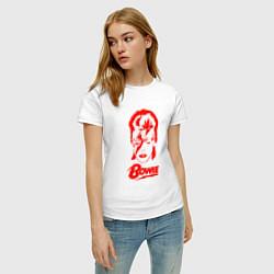 Футболка хлопковая женская Дэвид Боуи цвета белый — фото 2