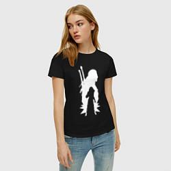 Футболка хлопковая женская Силуэт Ведьмака цвета черный — фото 2
