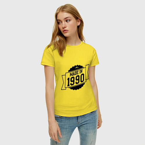 Женская футболка Made in 1990 / Желтый – фото 3