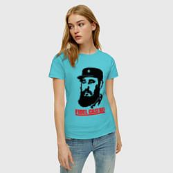Футболка хлопковая женская Fidel Castro цвета бирюзовый — фото 2