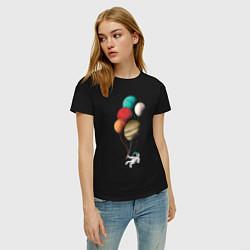 Футболка хлопковая женская Космические шары цвета черный — фото 2