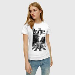 Футболка хлопковая женская The Beatles: Mono Abbey Road цвета белый — фото 2