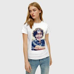 Футболка хлопковая женская Keep Calm & Love Harry Styles цвета белый — фото 2