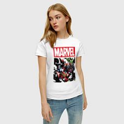 Футболка хлопковая женская Avengers: Marvel Heroes цвета белый — фото 2