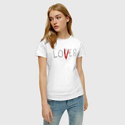 Футболка хлопковая женская Lover цвета белый — фото 2