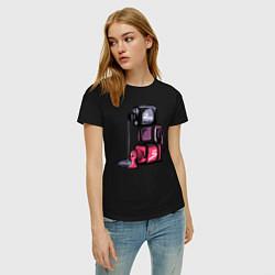 Женская хлопковая футболка с принтом Лаки, цвет: черный, артикул: 10253699300002 — фото 2