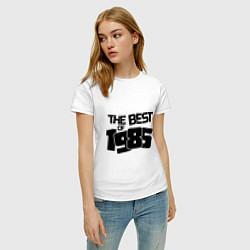 Футболка хлопковая женская The best of 1985 цвета белый — фото 2
